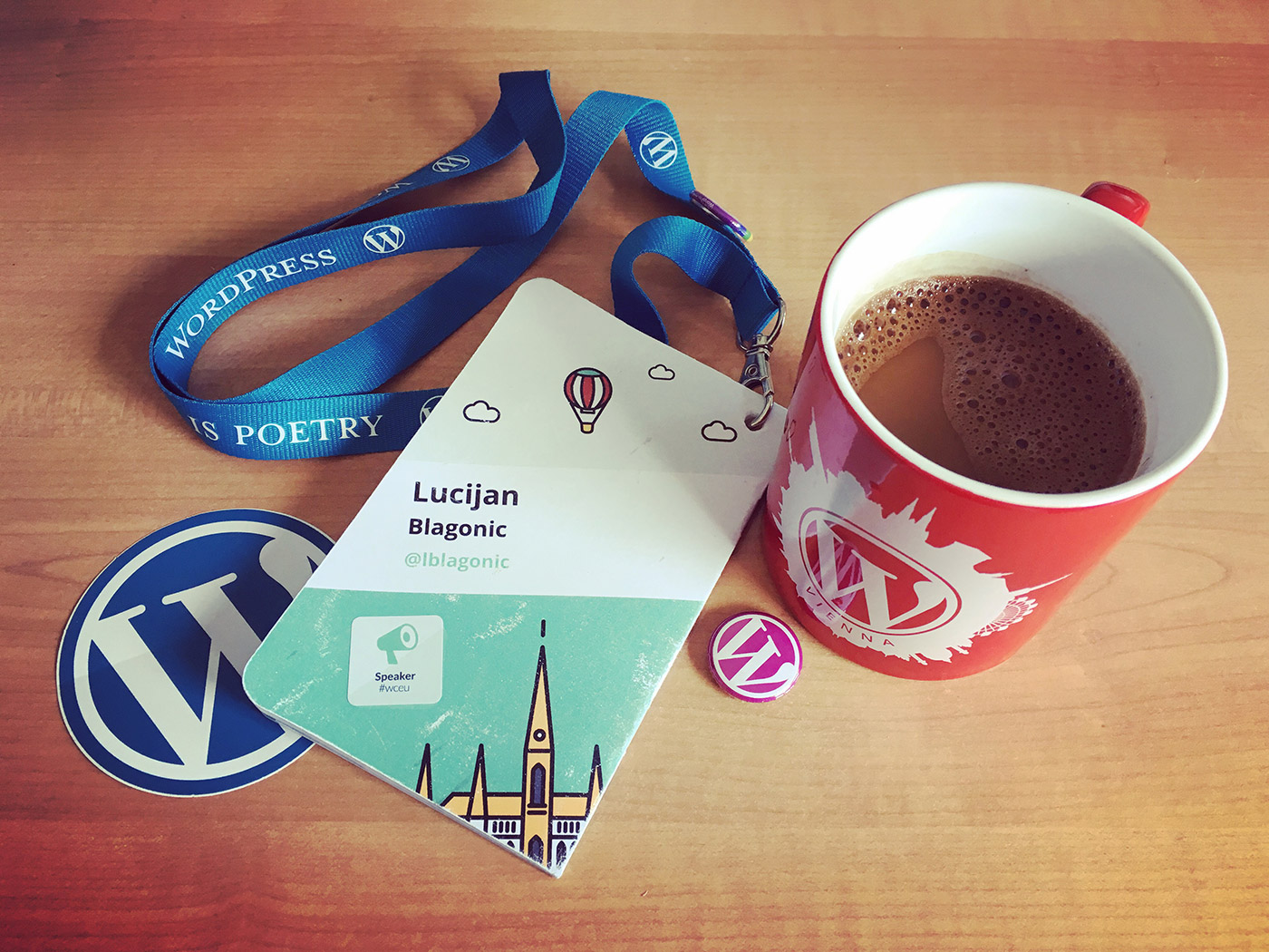 Coffee mug, lanyard and badges